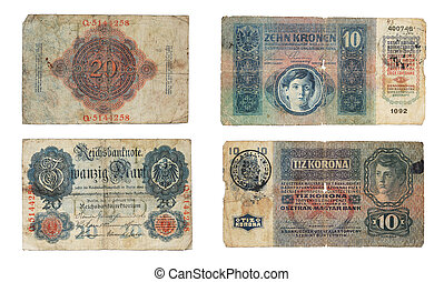 German and Austro-Hungary old bankn - German 20 mark and...