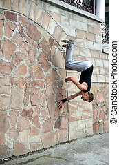Parkour - An image of a young man doing exercises