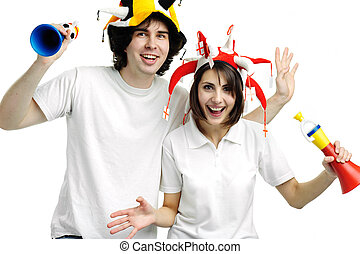 Two fans - An image of two football fans with horns