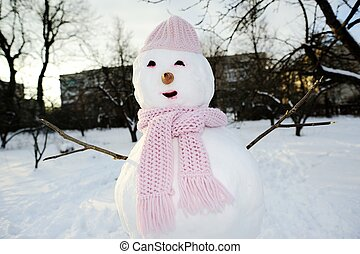 Snowman outdoors - An image of perfect snowman in pink