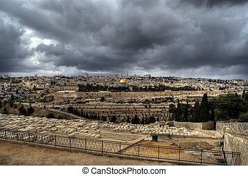 Jerusalem temple mount panorama - Dome of Rock, Al Aqsa...