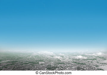 Air view of landscape on beautiful sunny day