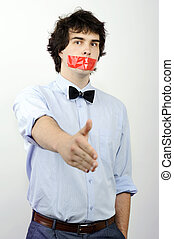 Silence - An image of a man with red tape on his mouth