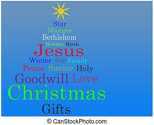 christmas tree word cloud card - christmas tree word cloud...