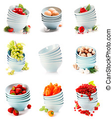Blue bowls with fruits and vegetables over white