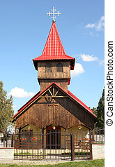 Modern wood church with blue sky background