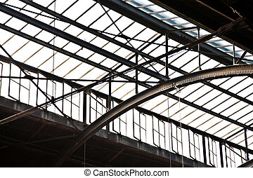 train station in Wiesbaden, glass roof gives a beautiful...