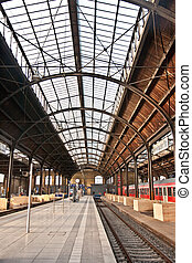 trainstation in Wiesbaden, glass of roof gives a beautiful...
