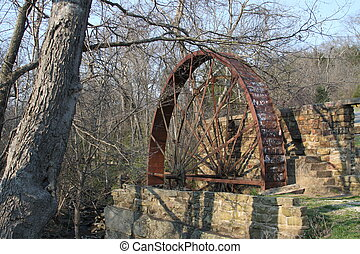 Old Mill Wheel - Abandonded mill wheel and structure a...