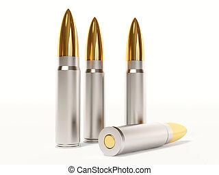 ammunition - gold ammunition on white background