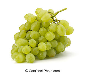 Perfect bunch of white grapes isolated on white background