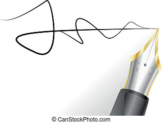 fountain pen with signature - illustration of a fountain pen...