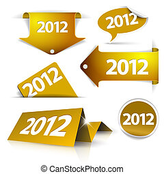 Vector golden 2012 Labels, stickers, pointers, tags