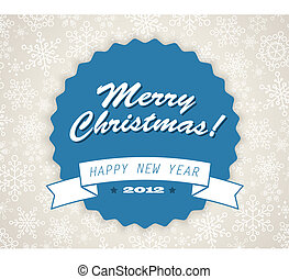 Simple vector blue vintage retro Christmas card