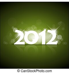 Vector Green New Year card 2012 with back light and place...