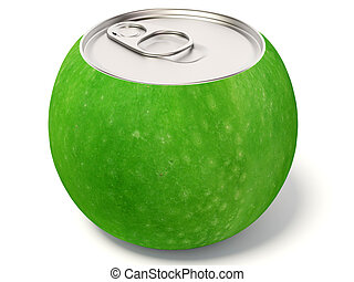 green apple - creative apple-bottle on isolated background