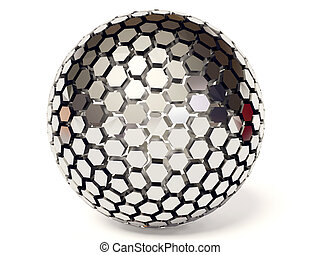 ball - silver sphere on white background