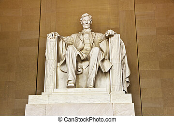 Lincoln Memorial in Washington - Statue of Abraham Lincoln...