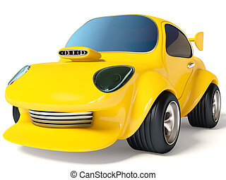 car - yellow car on white background