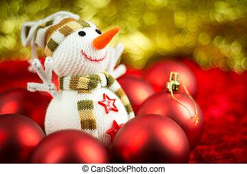 Wool Snowman - Christmas balls surrounding a wool snowman...