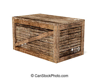 crate - wooden crate on isolated background