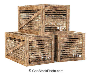 crates - wooden  crates on white background