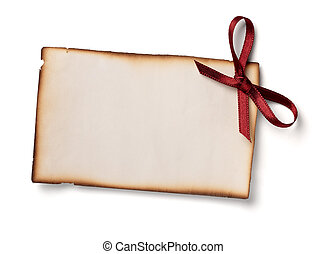 greeting card with ribbon note christmas - close up of card...