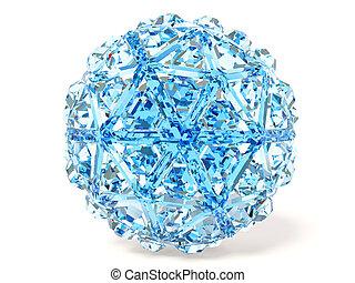 diamond - blue diamond on white background