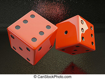 Rolling Dice on a black  background isolated