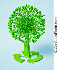 tree - green recycle rtee on a blue background