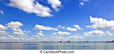 skyline of Miami with ocean