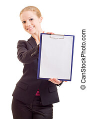 business woman with a represent folder
