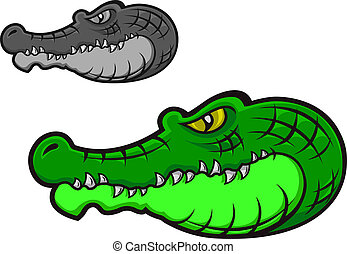 Green cartoon crocodile head for tattoo or mascot design