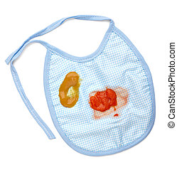 baby food bib feeding stain - close up of a baby food stains...