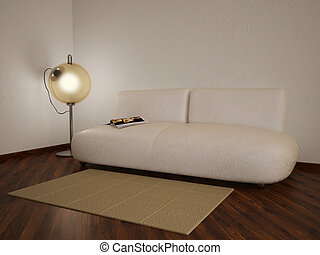 room - comfortable evening room with white modern sofa