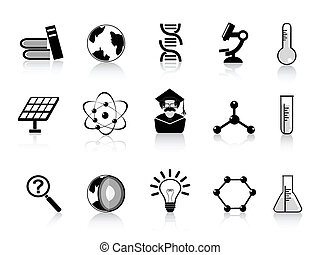 black science icons set for design