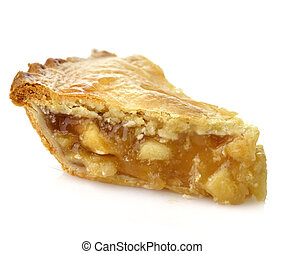 Apple Pie - A Slice Of Apple Pie On White Background ,Close...
