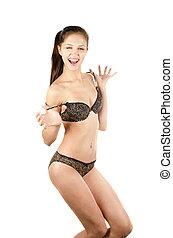 girl in a underwear - Beautiful funny girl in a underwear on...
