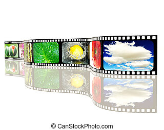 film-roll - colored film-roll on white background