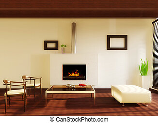 room - modern interior room with white wall and fireplace
