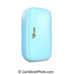 fridge - blue retro fridge on white background isolated