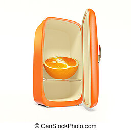 fridge - old orange fridge on white background isolated