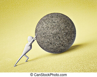 man pushing - strong man pushing a large stone ball