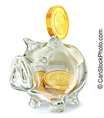 piggy bank - glass piggy bank isolated on a white