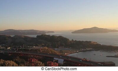 Sunrise at Golden Gate Bridge over San Francisco Bay Vista...
