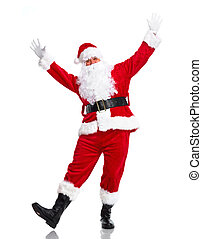 Santa Claus - Happy dancing Santa Claus Christmas Isolated...