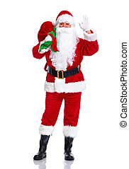 Santa Claus. - Happy traditional Santa Claus with bag....