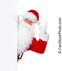 Santa Claus with banner. - Happy Santa Claus with christmas...