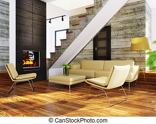 room - modern interior room with beige furniture and...