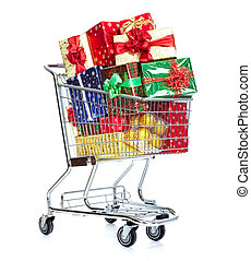 Christmas shopping cart with gifts. - Shopping cart with...